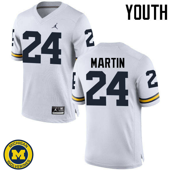 Youth Michigan Wolverines #24 Jake Martin College Football Jerseys Sale-White